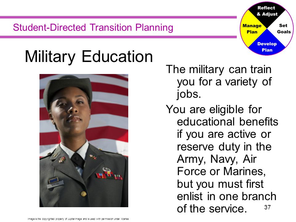 Military Education Other options for military education right after high school include Air Force, Naval, or Coast Guard Academies.