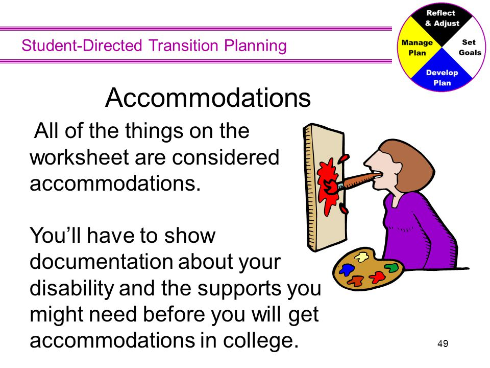 Accommodations Accommodations are not intended to provide an advantage over other students. Only appropriate accommodations should be used.
