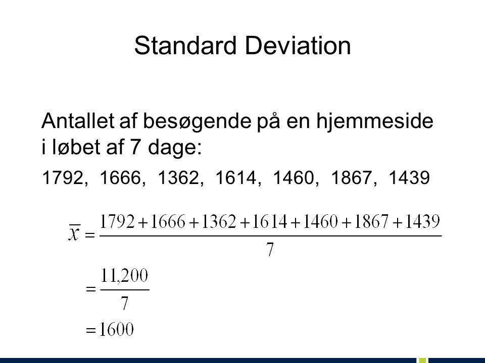 Standard Deviation Antallet af besøgende på en hjemmeside i løbet af 7 dage: 1792, 1666, 1362, 1614, 1460, 1867, 1439.