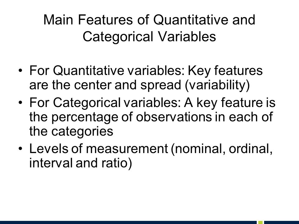 Main Features of Quantitative and Categorical Variables