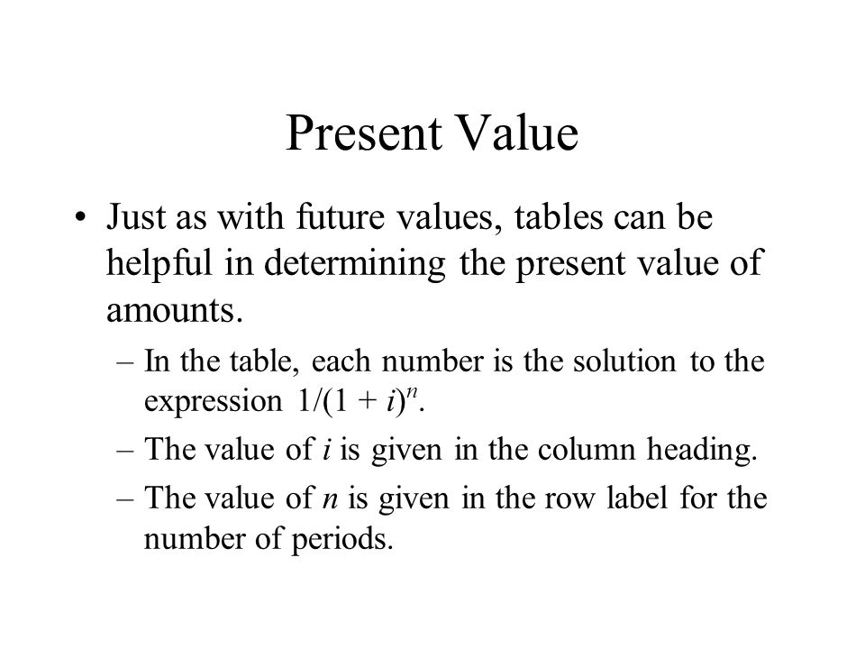 Present Value Just as with future values, tables can be helpful in determining the present value of amounts.