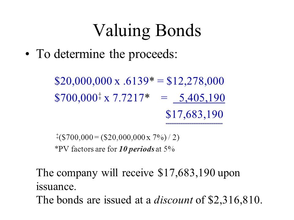 Valuing Bonds To determine the proceeds: