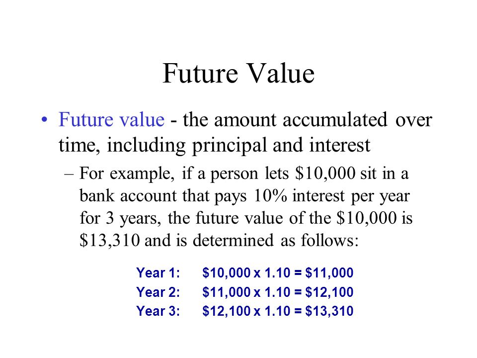 Future Value Future value - the amount accumulated over time, including principal and interest.