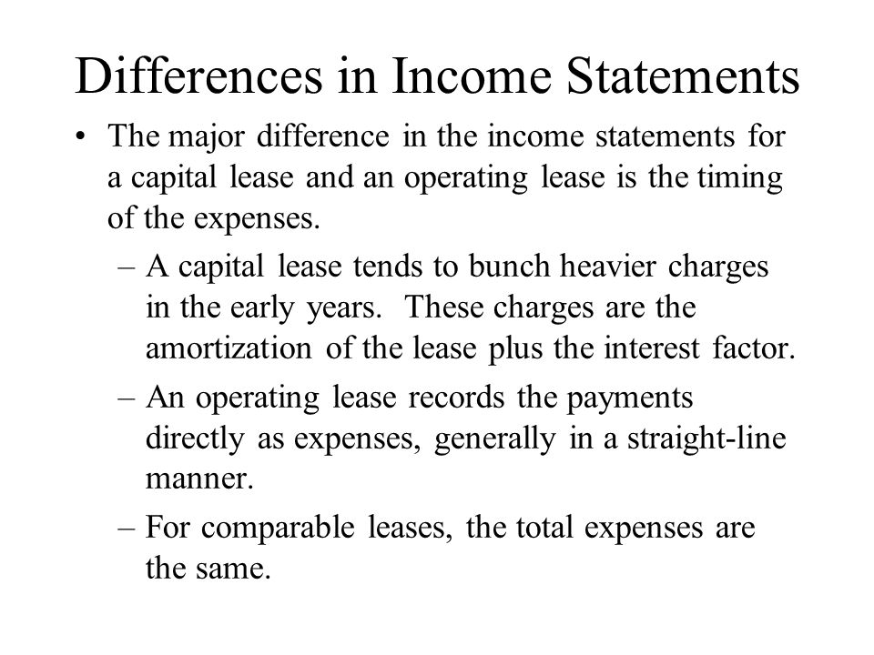 Differences in Income Statements