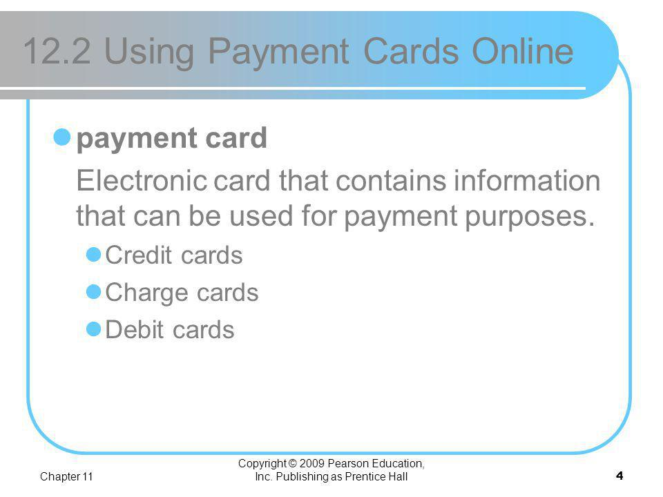 12.2 Using Payment Cards Online