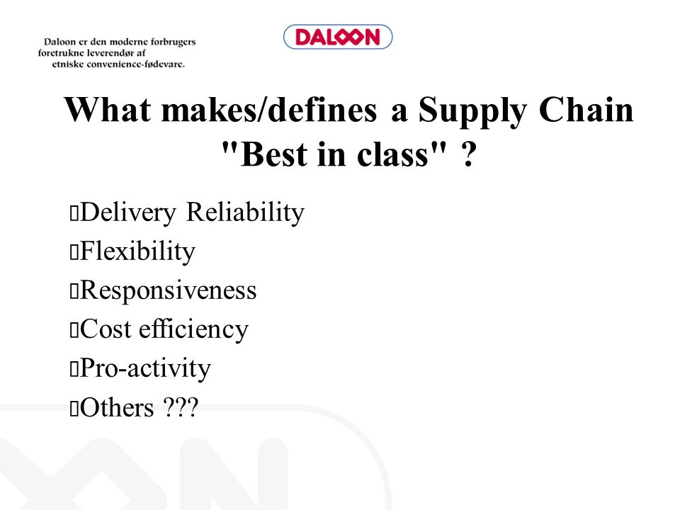 What makes/defines a Supply Chain Best in class