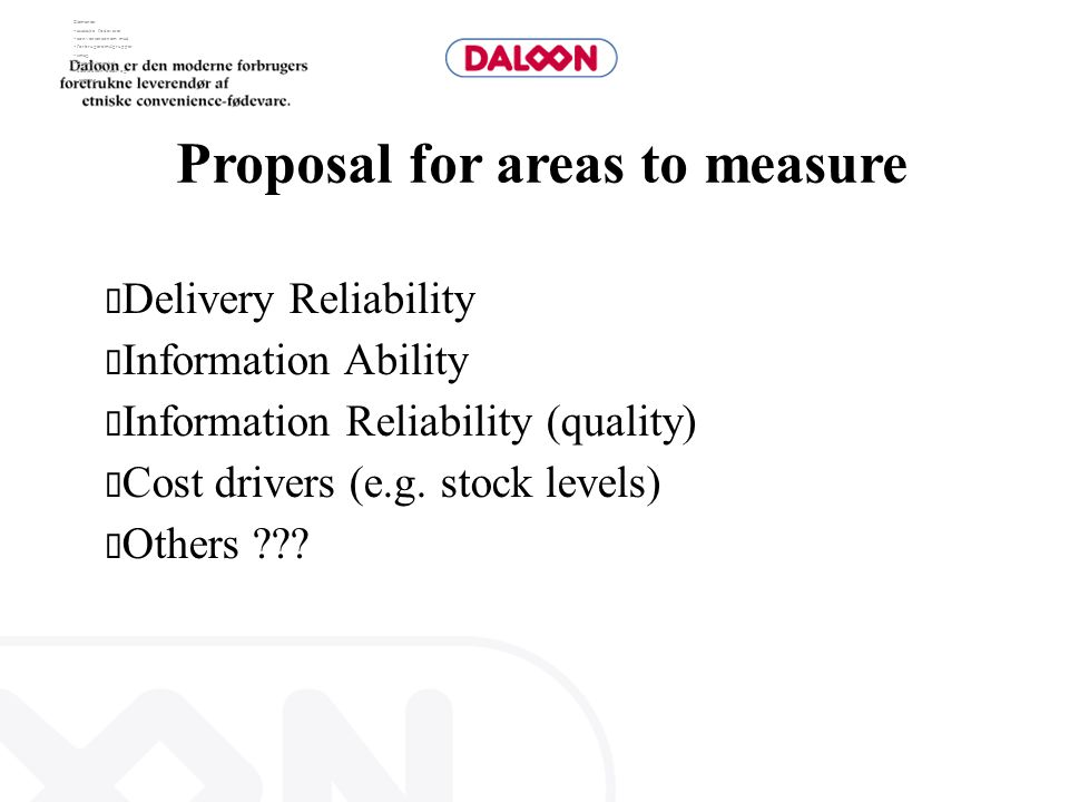 Proposal for areas to measure