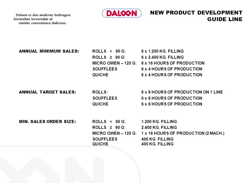 NEW PRODUCT DEVELOPMENT GUIDE LINE