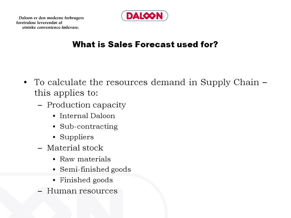 What is Sales Forecast used for