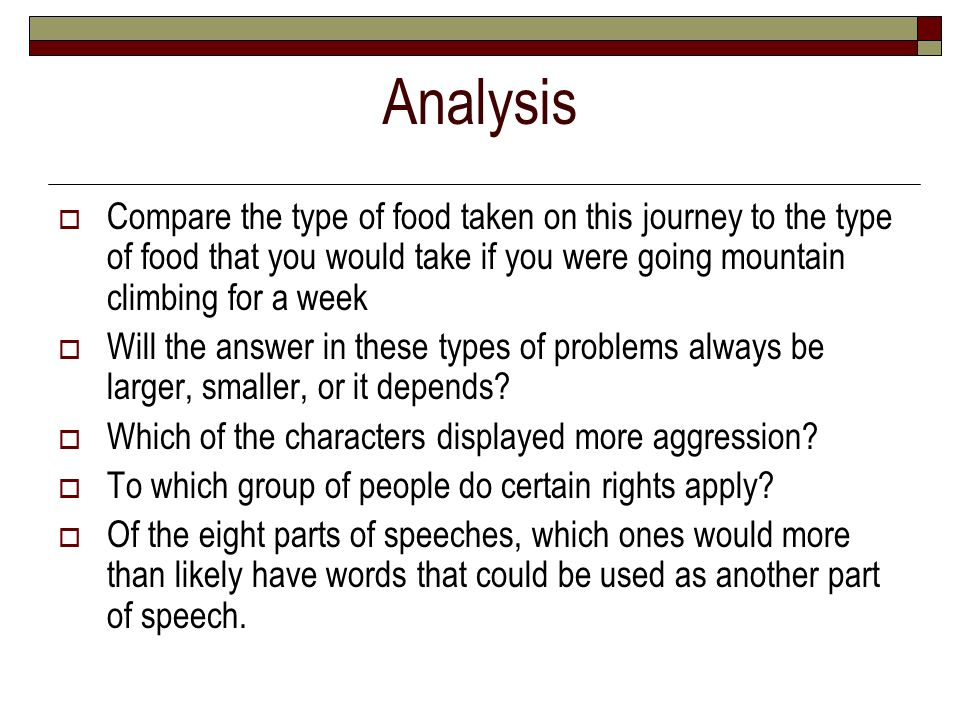 Analysis Compare the type of food taken on this journey to the type of food that you would take if you were going mountain climbing for a week.
