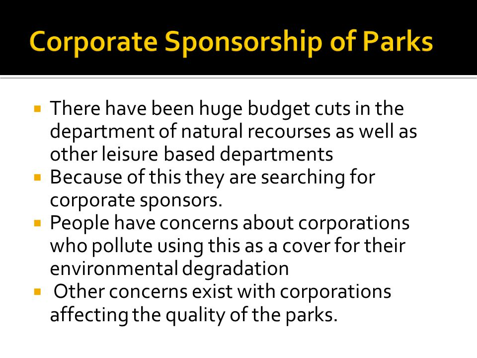 Corporate Sponsorship of Parks