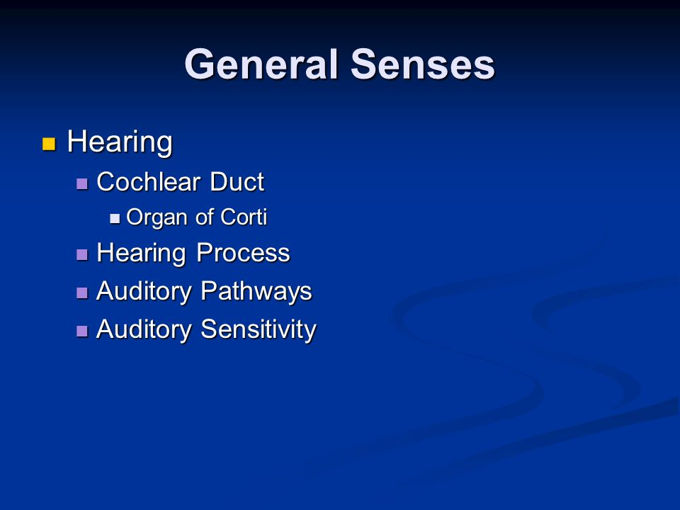 General Senses Hearing Cochlear Duct Hearing Process Auditory Pathways
