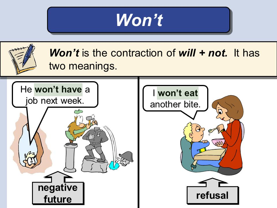 Won't Won't is the contraction of will + not. It has two meanings.