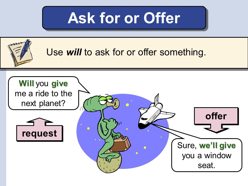 Ask for or Offer Use will to ask for or offer something. offer request
