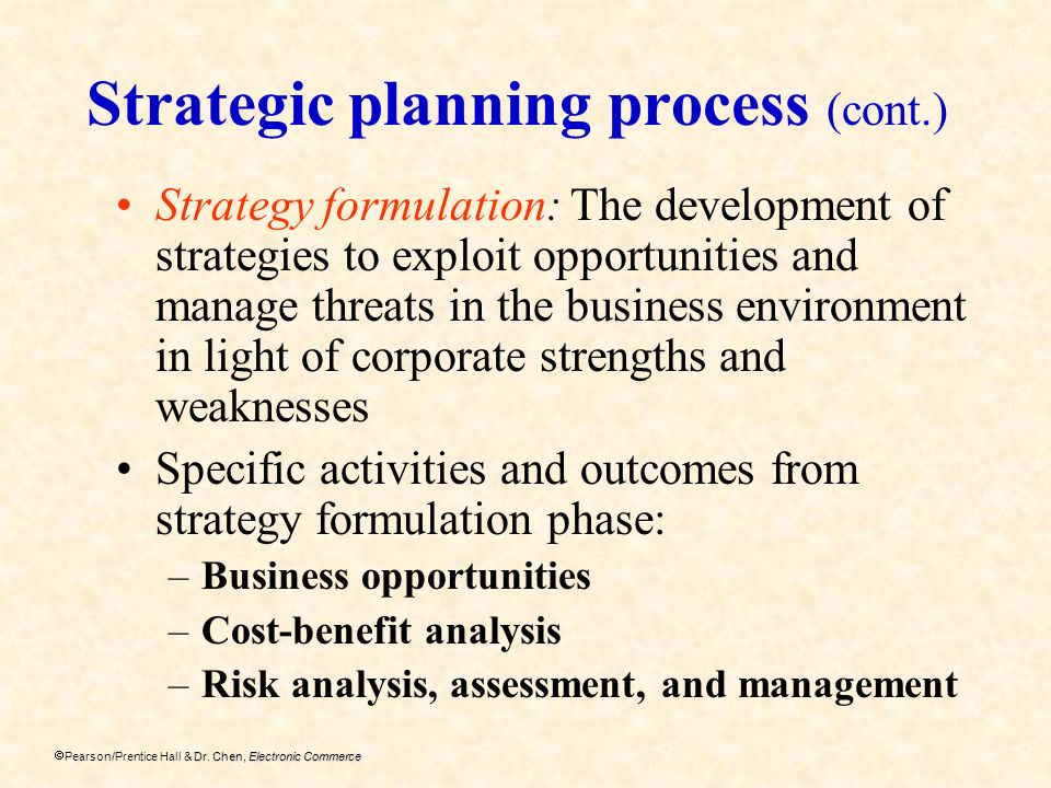 Strategic planning process (cont.)