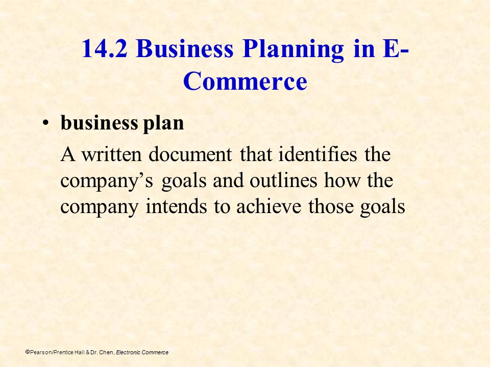 14.2 Business Planning in E-Commerce