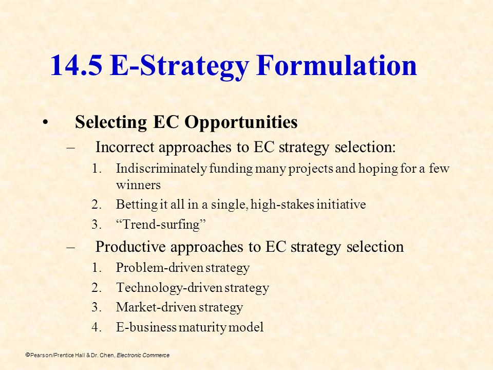 14.5 E-Strategy Formulation