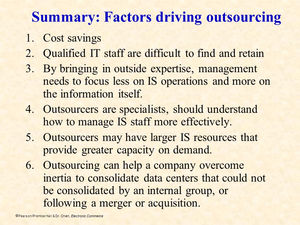 Summary: Factors driving outsourcing