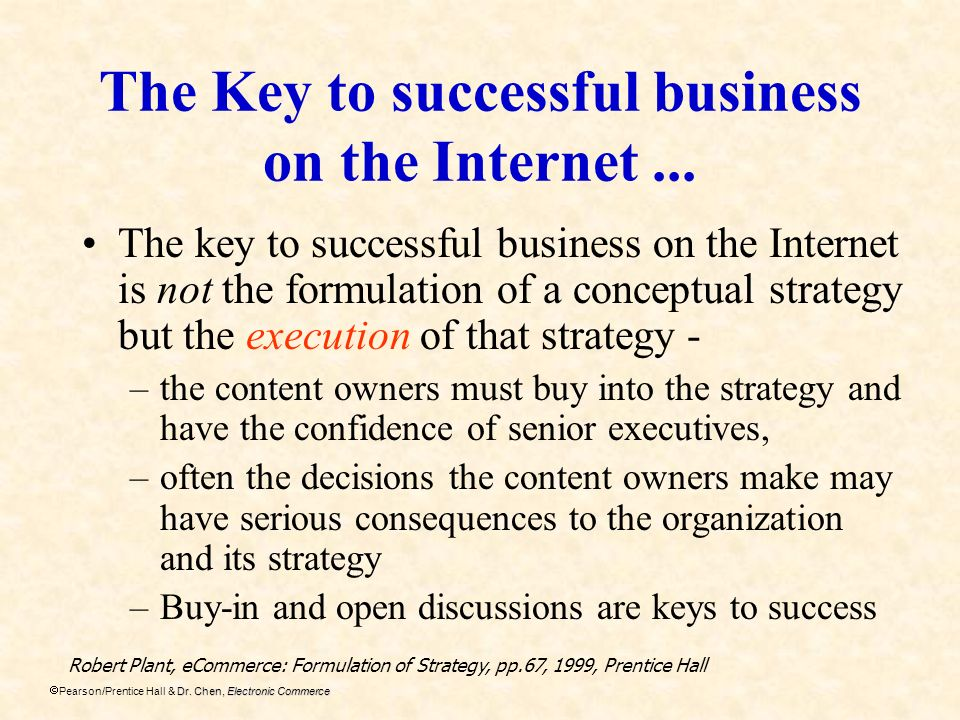The Key to successful business on the Internet ...