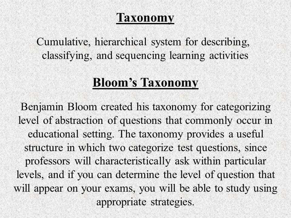 Taxonomy Bloom's Taxonomy
