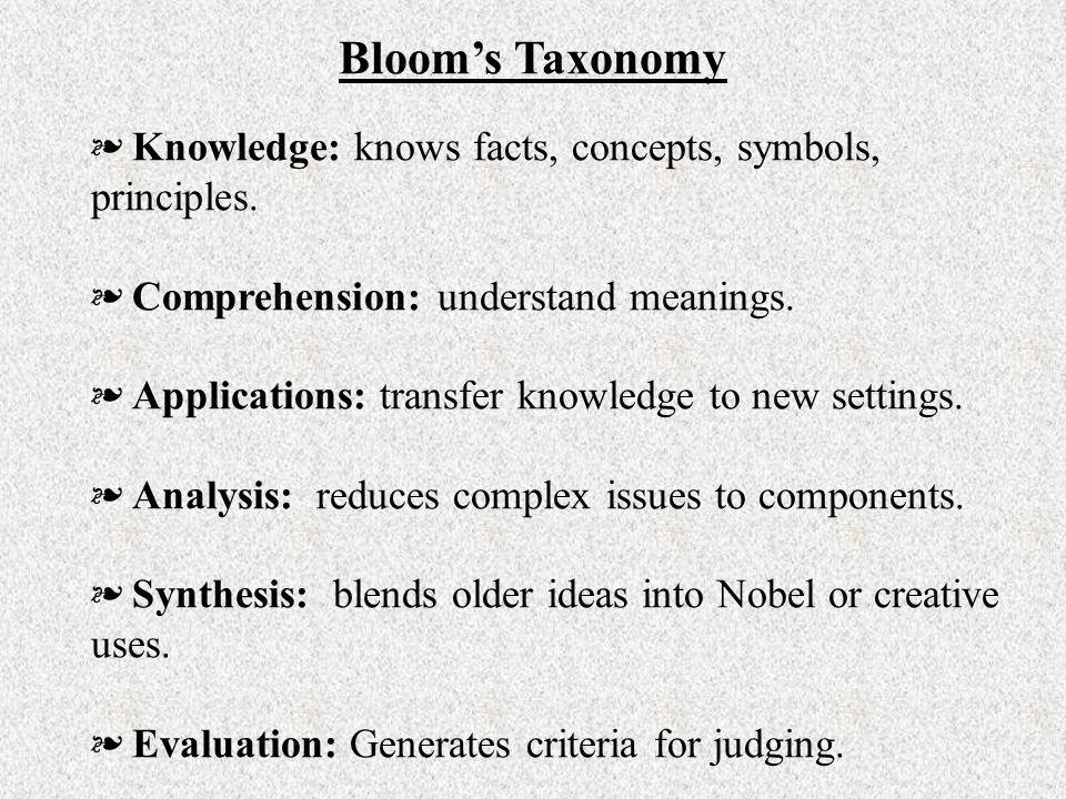 Bloom's Taxonomy Knowledge: knows facts, concepts, symbols, principles. Comprehension: understand meanings.