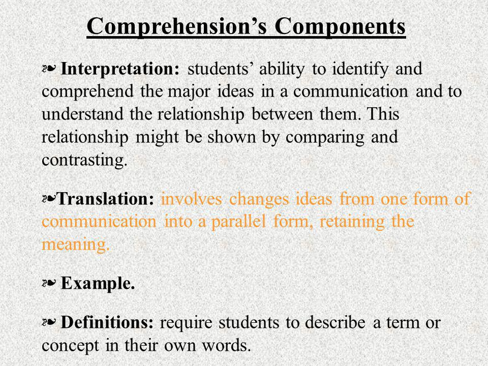 Comprehension's Components