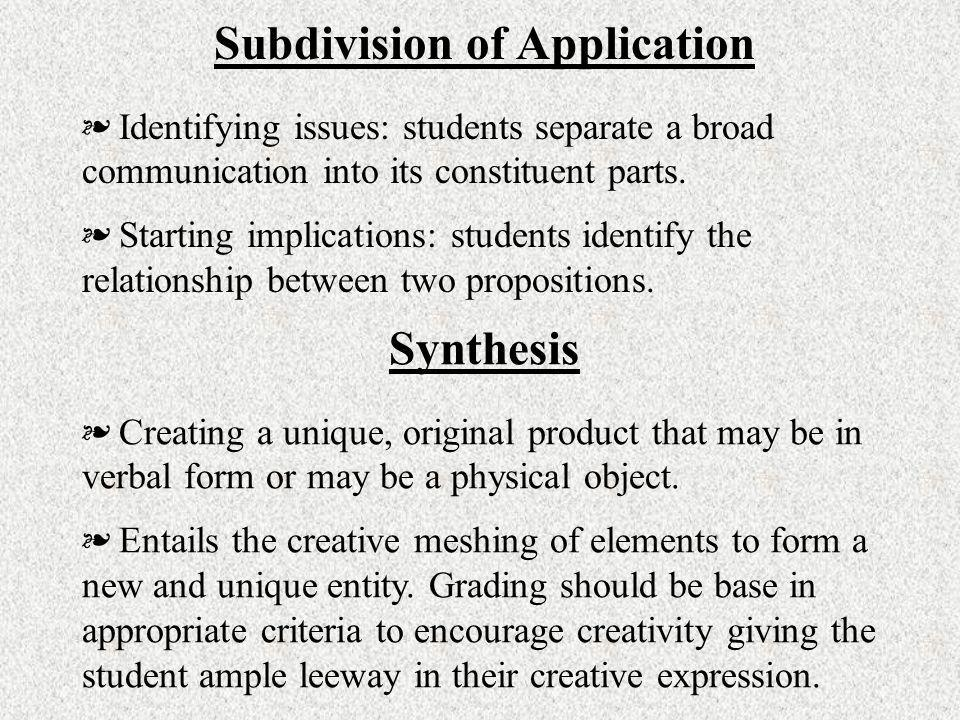 Subdivision of Application