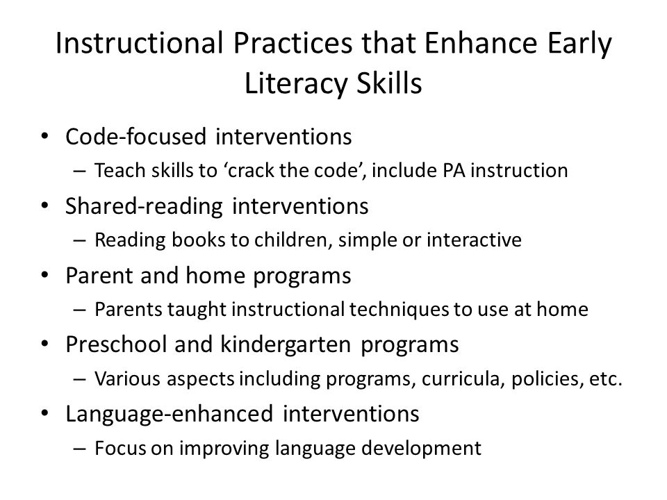 Instructional Practices that Enhance Early Literacy Skills
