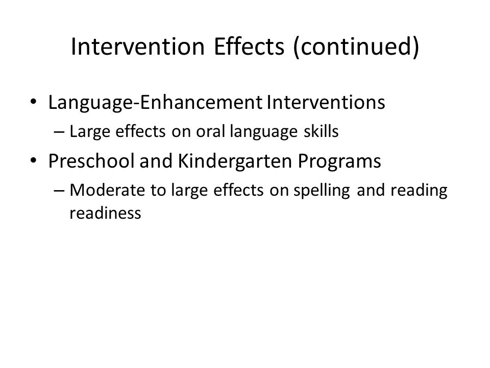 Intervention Effects (continued)