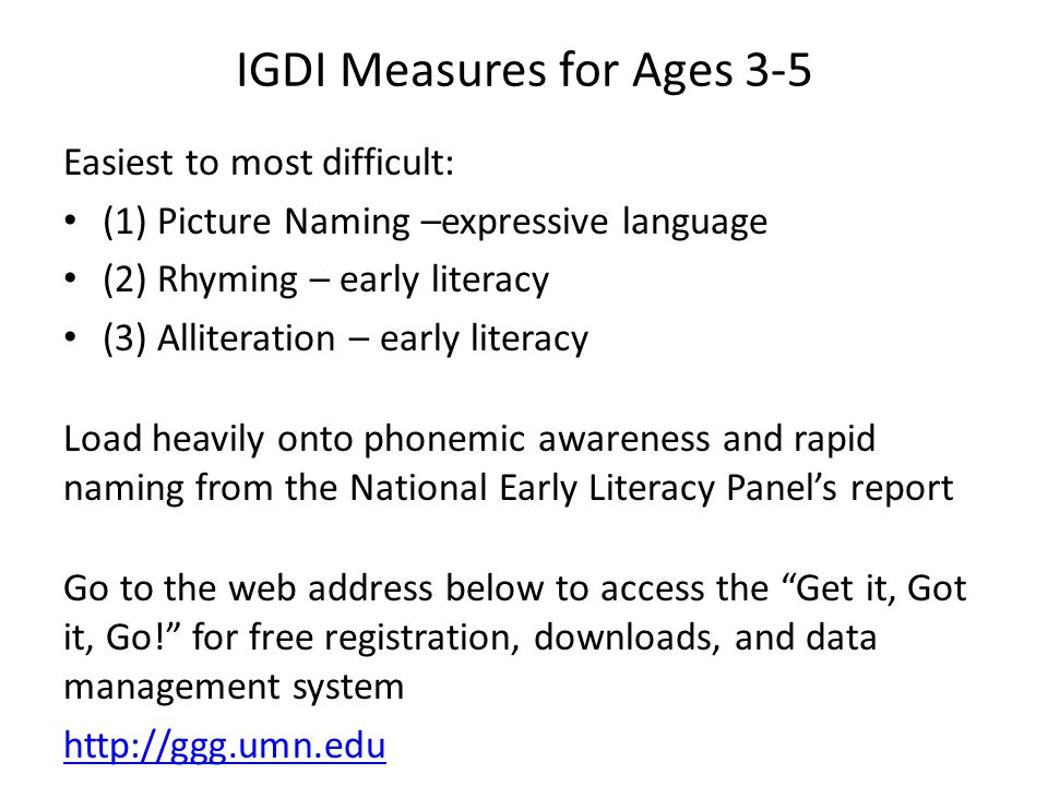 IGDI Measures for Ages 3-5