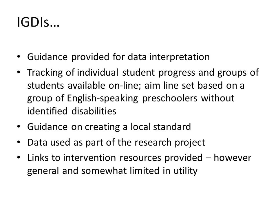 IGDIs… Guidance provided for data interpretation