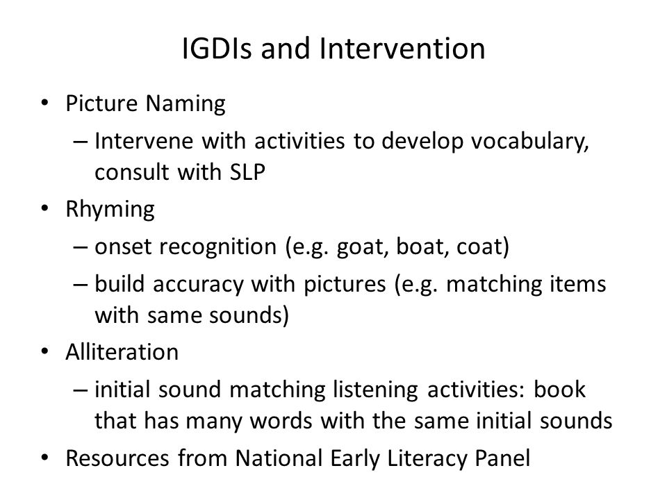 IGDIs and Intervention