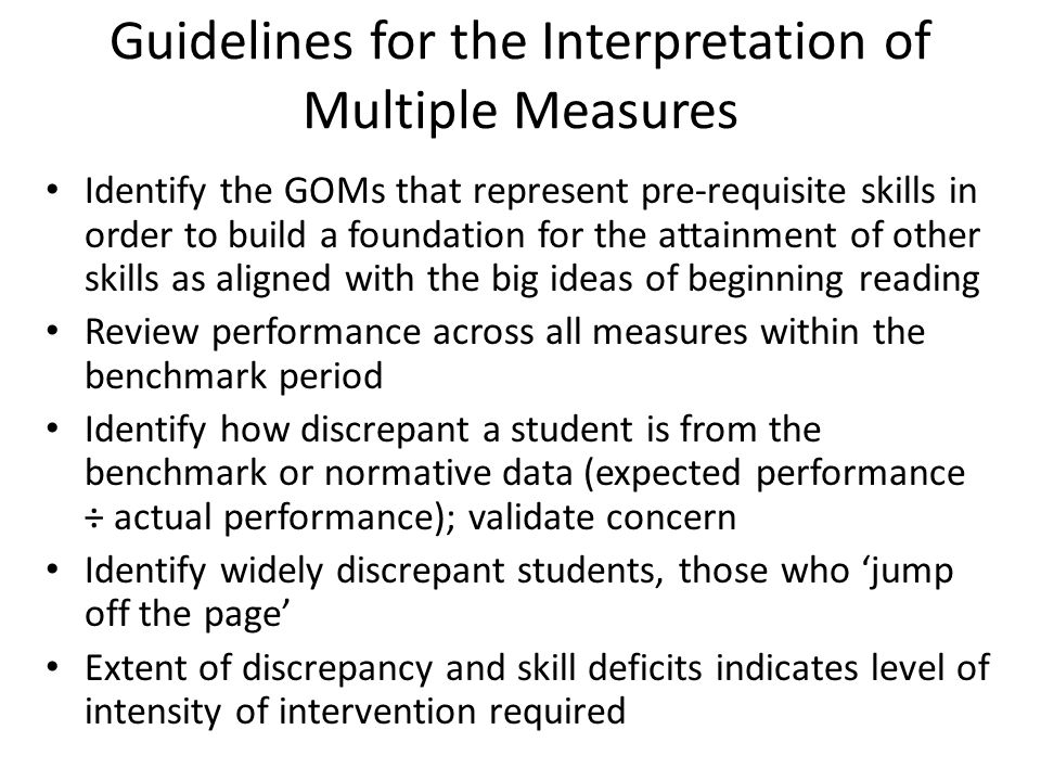 Guidelines for the Interpretation of Multiple Measures
