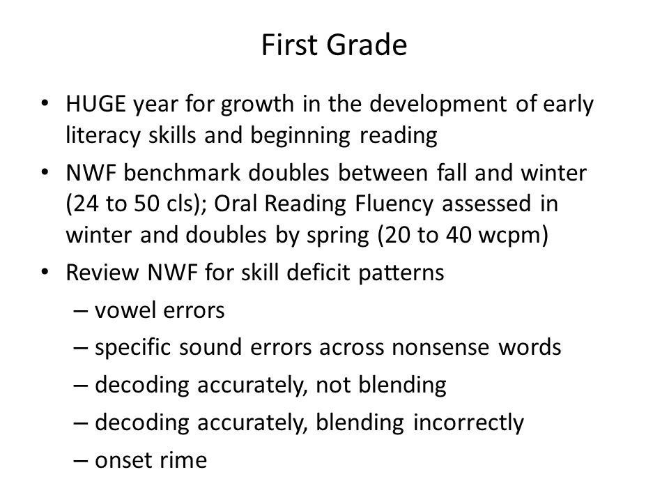First Grade HUGE year for growth in the development of early literacy skills and beginning reading.