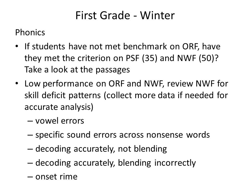 First Grade - Winter Phonics