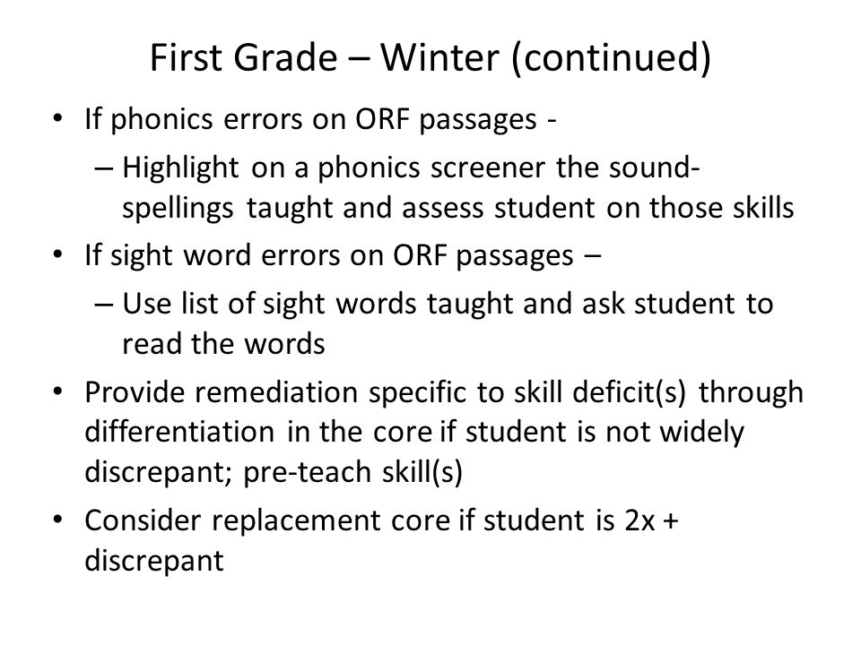 First Grade – Winter (continued)