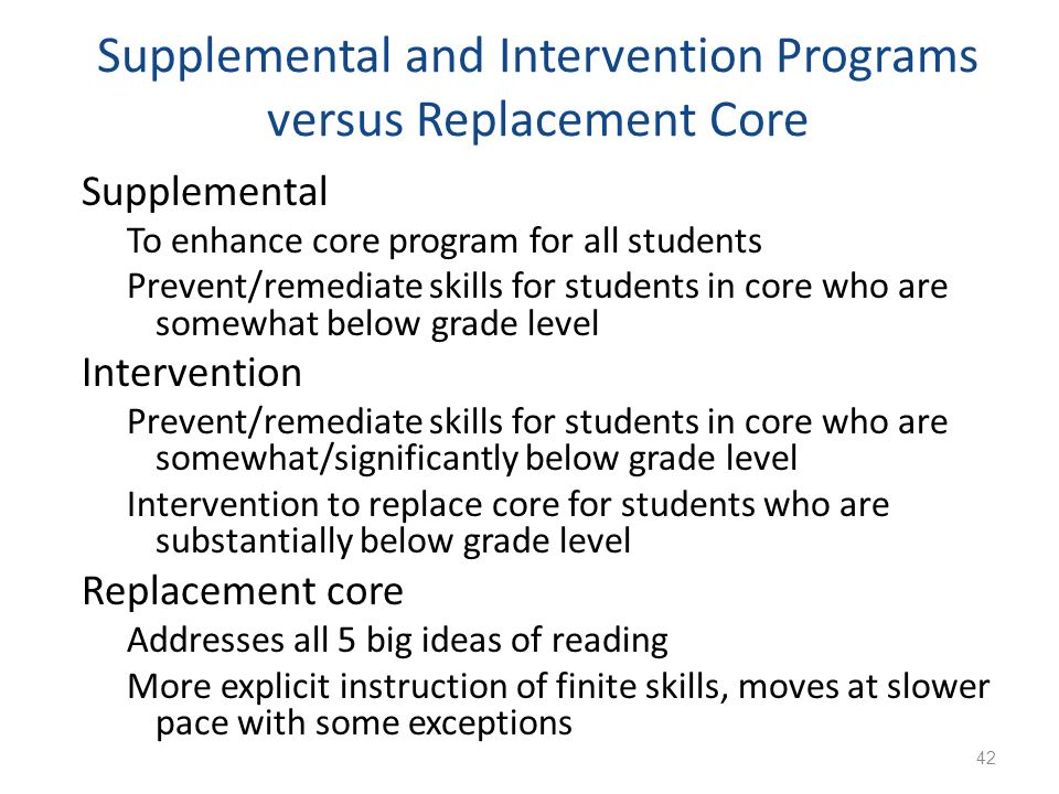 Supplemental and Intervention Programs versus Replacement Core