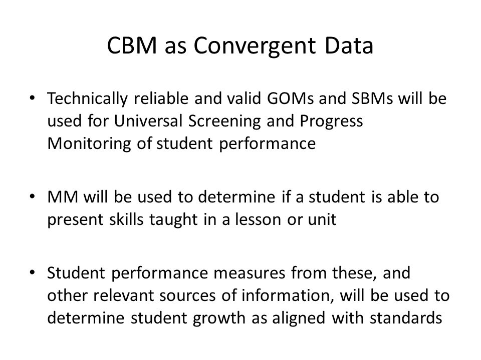 CBM as Convergent Data
