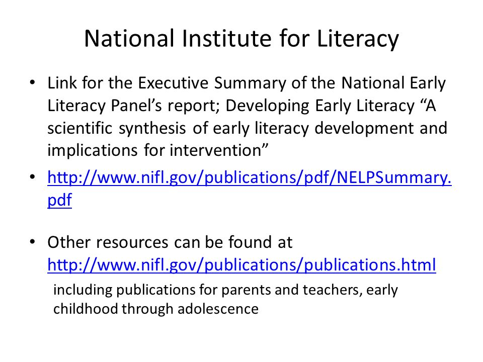 National Institute for Literacy