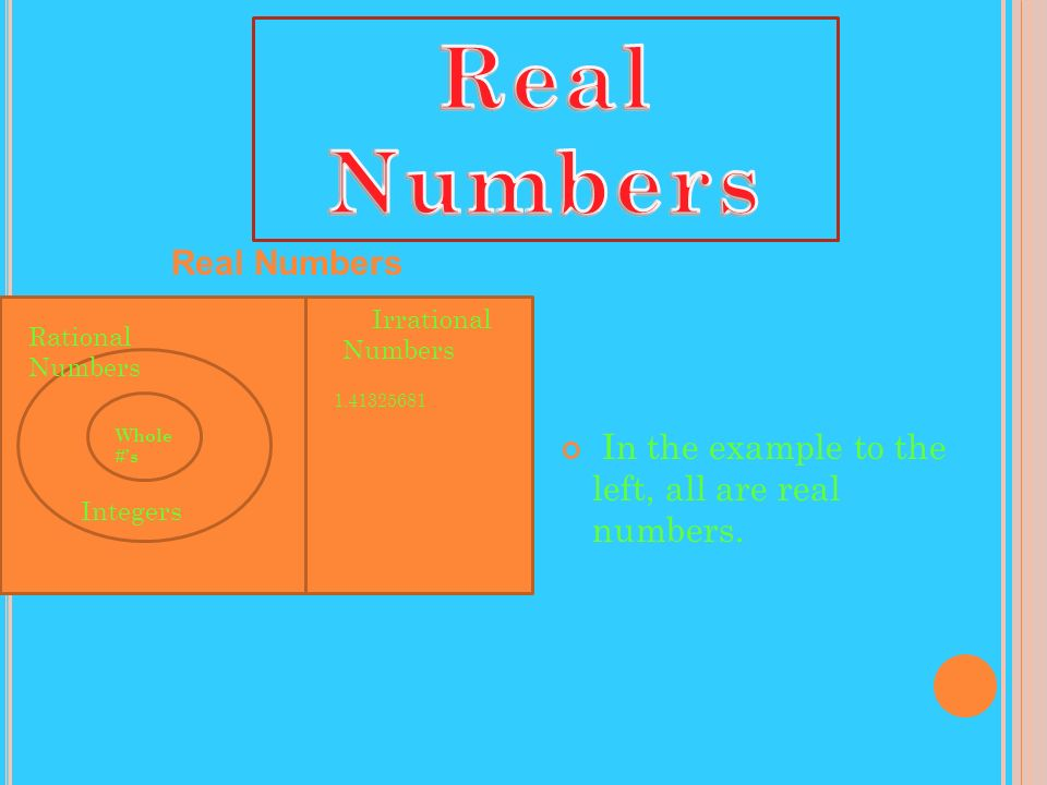 Real Numbers In the example to the left, all are real numbers.