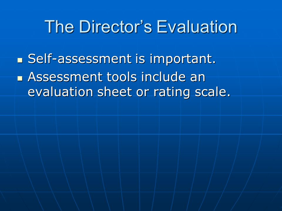 The Director's Evaluation