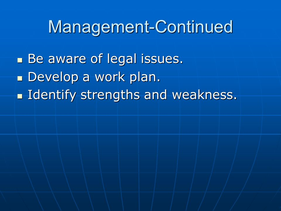 Management-Continued