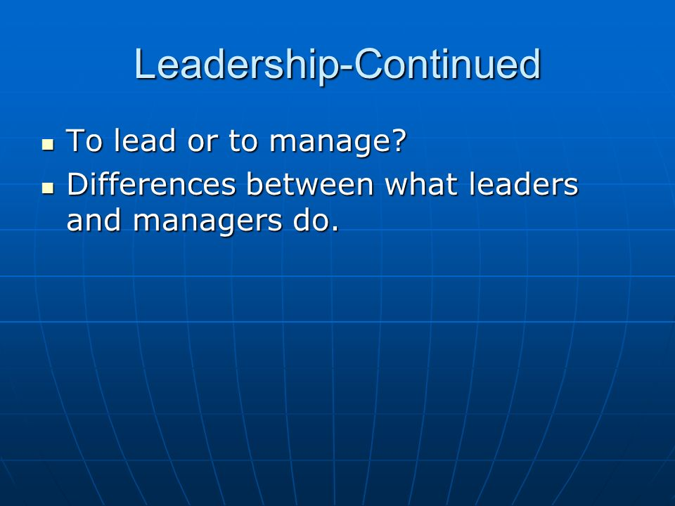Leadership-Continued