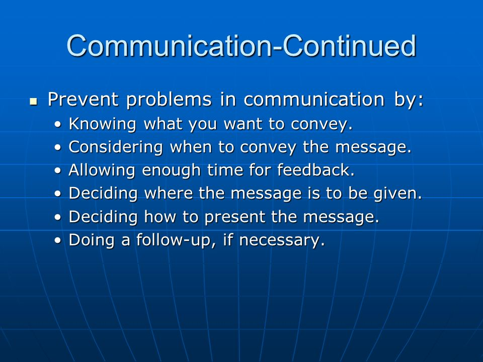 Communication-Continued