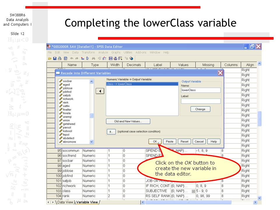 Completing the lowerClass variable