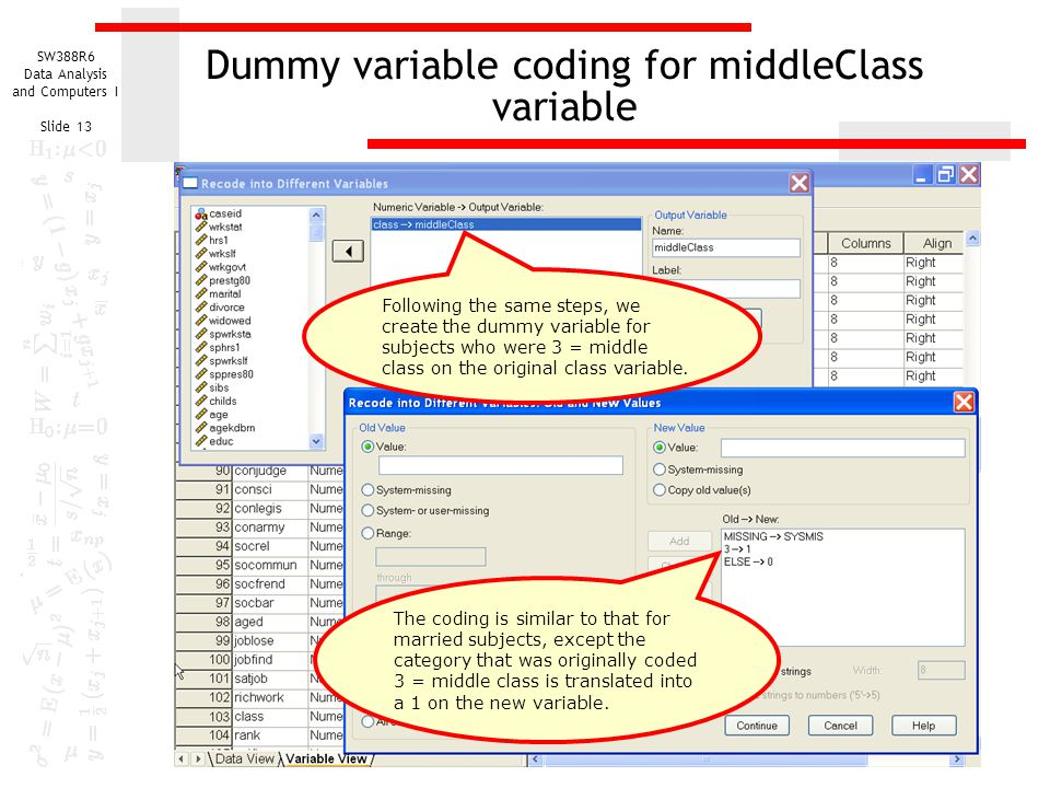 Dummy variable coding for middleClass variable