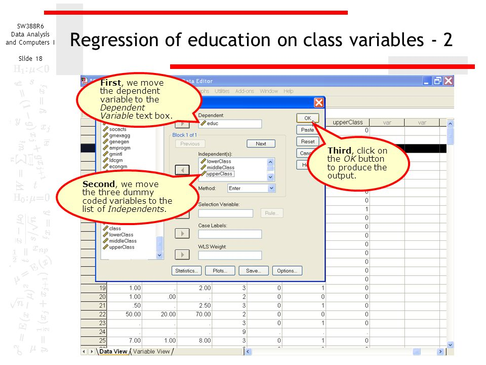 Regression of education on class variables - 2