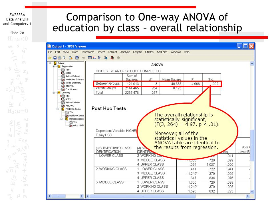 Comparison to One-way ANOVA of education by class – overall relationship