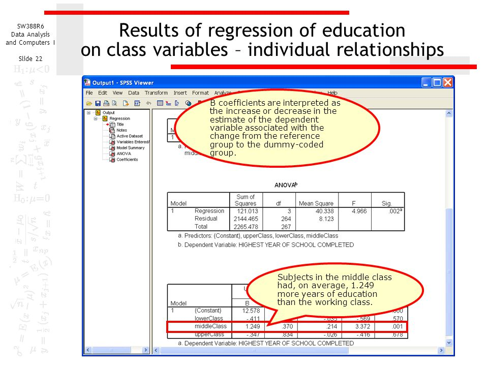 Results of regression of education on class variables – individual relationships