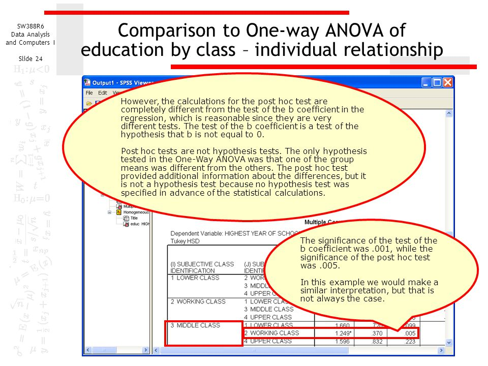 Comparison to One-way ANOVA of education by class – individual relationship